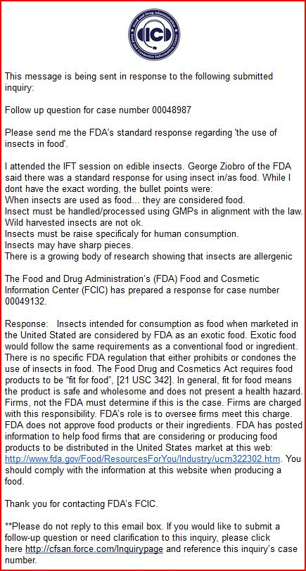 FDA response to inquiry   The Future Of Edible Insects